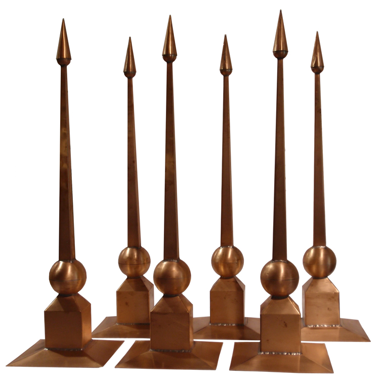 (6) 3' Copper Corinth Finials