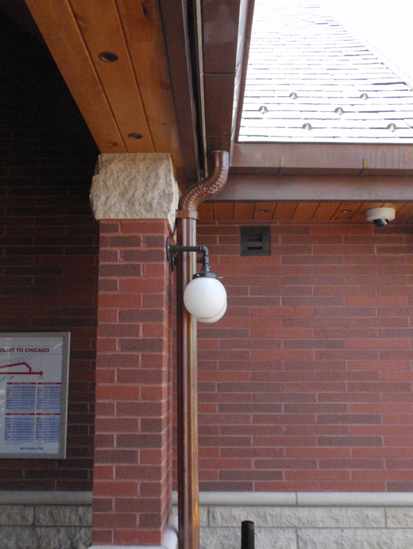 Corrugated Copper Downspout Installed