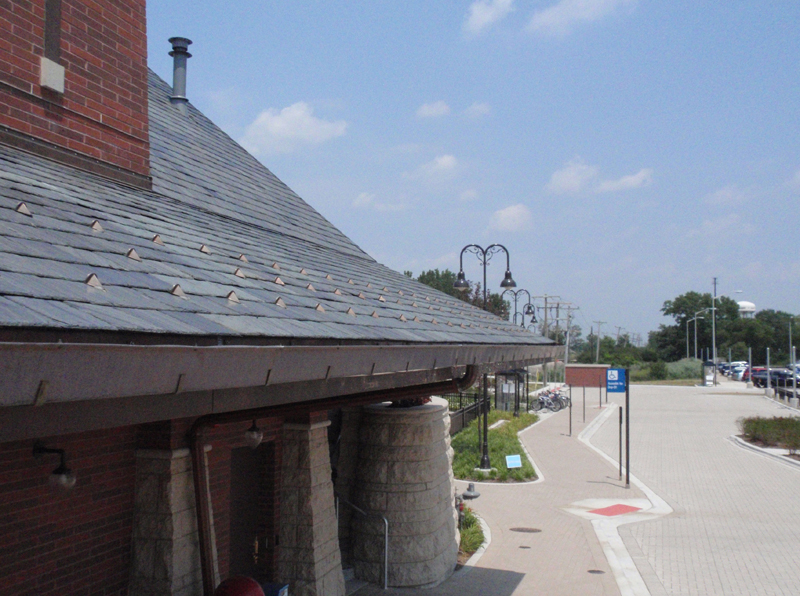 Alpine Snowguards on Slate Roof at the Tinley Park, IL Metra Station