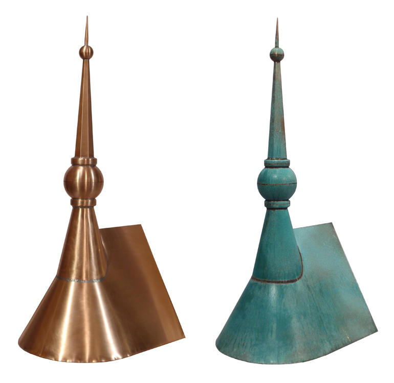 Ball & Spire - Half Cone Gable Before and After Patina