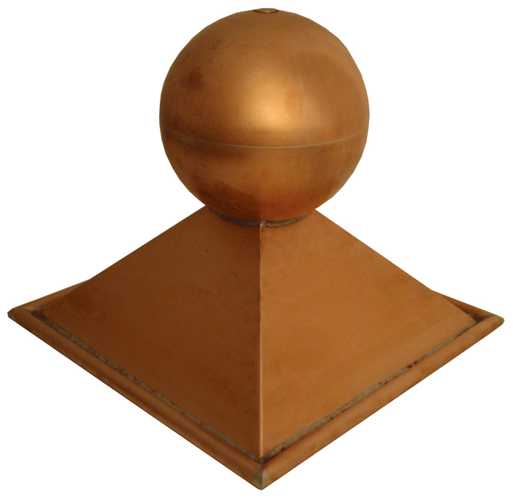 Ball & Base Finial - Copper w/ Tube Hem