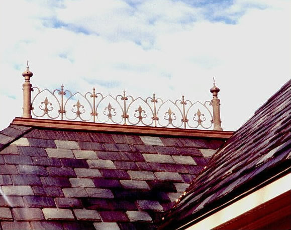 ornamental casted ridge on house
