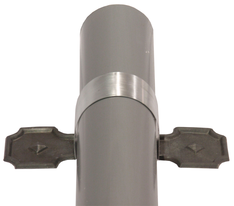 Zinc Bandends on strap and downspout