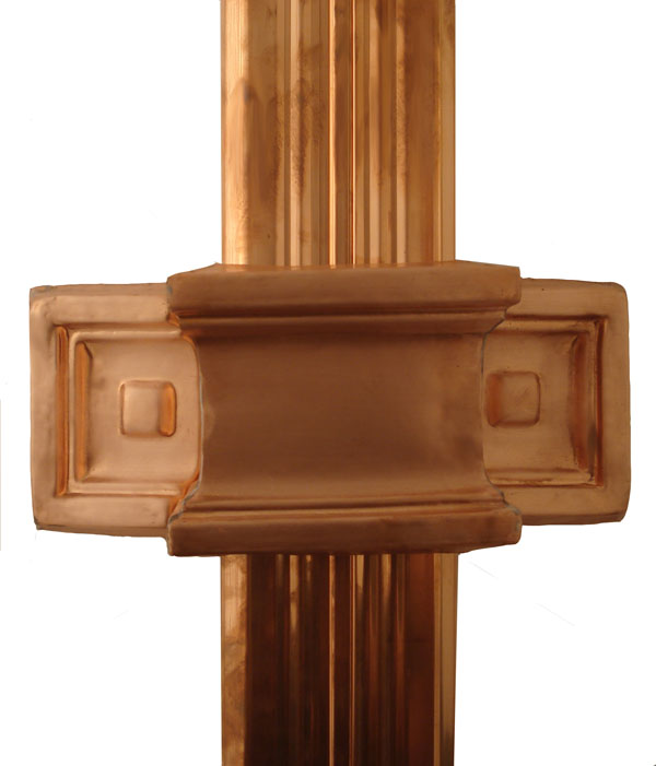 Copper Downspout Bracket on Corrugated Downspout
