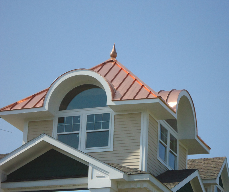 Copper Standing Seam and Ball and Spike Finial