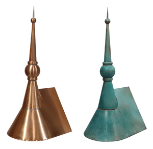 ball and spire before and after patina