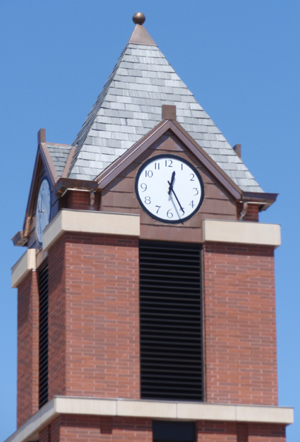ball and base finial on clock tower