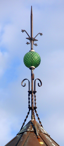 emerald green quilted glass ball on lightning rod