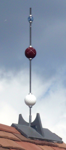 white and red glass balls on air terminal