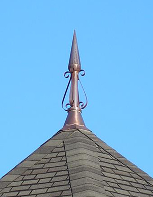 Copper Scroll Roof Finial Installed
