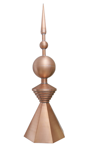 copper triple ball and spike roof finial
